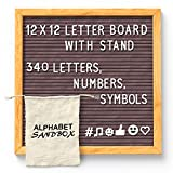 Gray Felt Letter Board 12x12 with Stand. Changeable Letter Board Includes 340 White Plastic Letters/Characters with Oak Frame. Includes Wall Mount and Drawstring Bag.