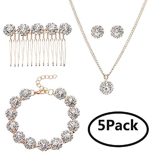 Ammei Bridal Wedding Jewelry for Brides with Crystal Side Comb Earrings Necklace Bracelets 5 Pieces (Rose Gold)
