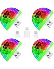 CZS USB Disco Ball Light Sound Activated LED Atmosphere Party Light Mini Portable DJ Ball Strobe Light with Adapters for Smart Phones,4W (4 Pack)