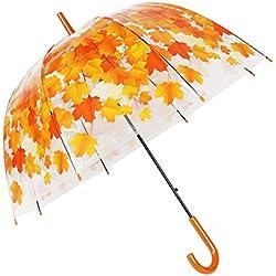 TOSOAR Transparent Stick Umbrella Clear Bubble Dome Shape Umbrella Color Pattern (Orange Maple Leaves)
