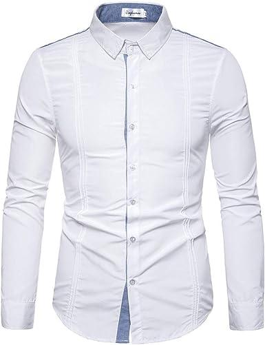CAOQAO- Botón de Empalme a Rayas de Hombre Camisa de Manga Larga Moda Blusa de Manga Larga Top: Amazon.es: Ropa y accesorios