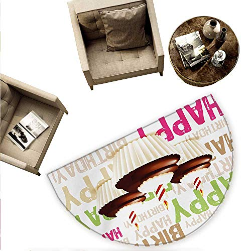 "Birthday Half Round Door mats Grunge Retro Happy Birthday Pattern with Three Chocolate Cupcakes Candles Print Bathroom Mat H 78.7"" xD 118.1"" Multicolor"