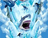 Version 3.0 HD Paint By Number Kits for Adults 3-dimension PBN Kit Paintworks Digital Diy Oil Painting Canvas Kits for Children Kids Beginner White Christmas Decorations Gifts - Shark (N7, No Frame)