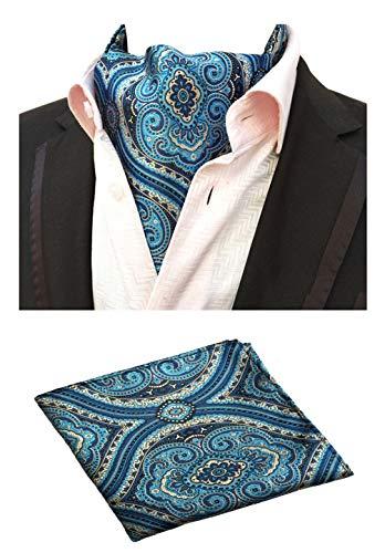 - MOHSLEE Men's Blue Paisley Cravat Woven Silk Formal Ties Ascot Pocket Square Set