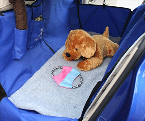 Heavy Duty & Waterproof & Non-slip X-Large Dogs Hammock for Vehicle Rearseats Protector with Soft Pad, Blue, 140 126cm