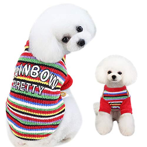 Didog Rainbow Pattern Dog Sweater Colorful Cute Knitwear Soft Warm Cozy Puppy Pajamas for Small Dogs & Cats