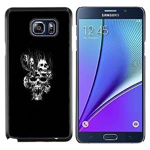 Caucho caso de Shell duro de la cubierta de accesorios de protección BY RAYDREAMMM - Samsung Galaxy Note 5 5th N9200 - Goth Cráneo malvado