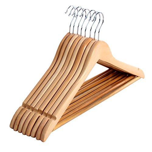 Songmics 20 Stück, Holz Kleiderbügel, mit Hosenstange, 360 Grad drehbar CRW001-20