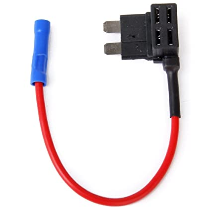 FOSHIO 12V Car A/ñadir Fusible de circuito Adaptador ACS TAP Perfil de la l/ámina de perfil bajo Portafusibles con fusible de 15A y mazo de cables Paquete de 2