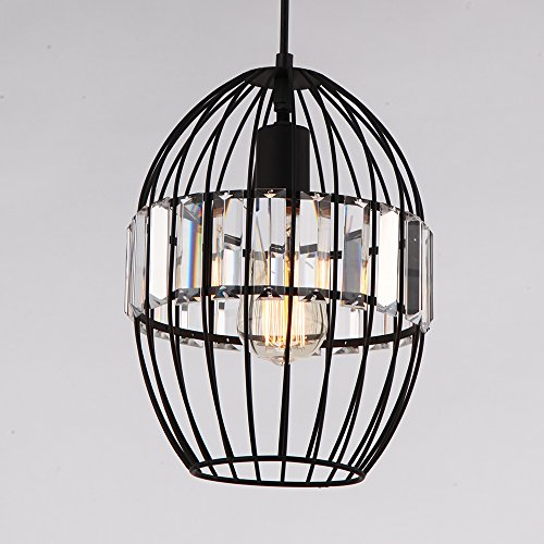 ALHAKIN Oval Cage Pendant Light Crystal Lantern Lamp Black Chandelier E27 Socket Painting Finish