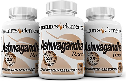 Premium Ashwagandha Capsules – PACK OF 3 – Energy Support and Stress Relief – Standardized 12:1 Extract – 2.5% Withanolides – 1000mg Vegetarian Capsules For Sale