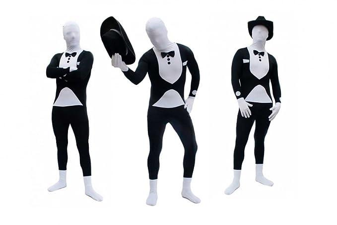 Goods & Gadgets Spandex-Lycra Ganzkörperanzug Body Suit Anzug - Tuxedo / Smoking / Butler Kostüm Gr. M