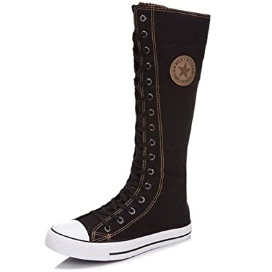 0c5ed1fce97 Ghope Women Girl Punk EMO Rock Gothic Zip Lace Up Canvas Boot Shoe Sneaker  Knee High