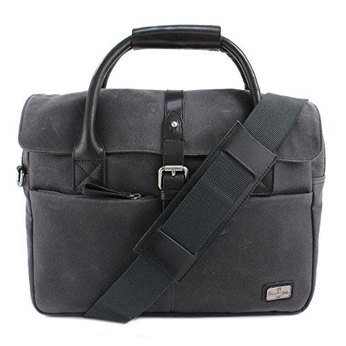 Dark Size One Trim The Leather Langdale British Co Briefcase Belt Canvas Carbon Waxed xq4xpX