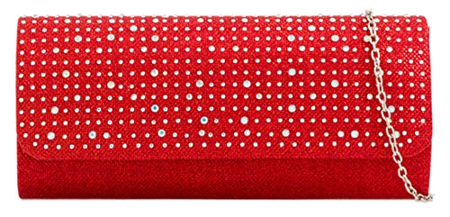 Designer Womens Bag Elegant Satin Clutch Prom Diamante Girly Woven Wedding Red Handbags wIzxYqSv