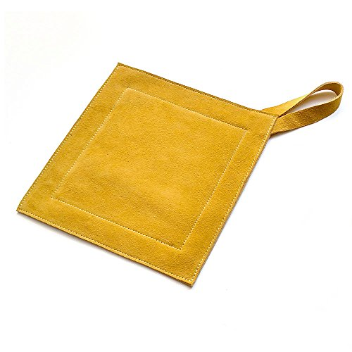 All Purpose Leather Suede Hot Pads For Use As Trivet, Hotpad, and Pot Holder. Mustard, (Wrought Iron Red Enamel)