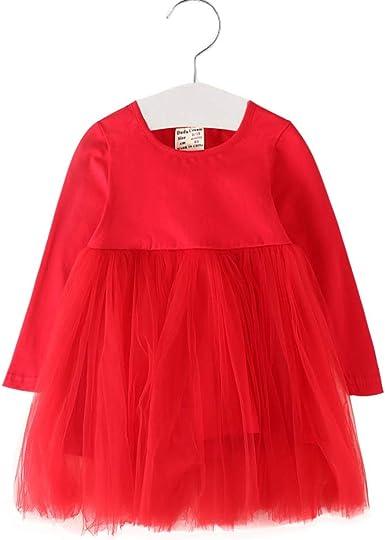 Toddler Kid Baby Girls Swing Skater Tutu Dress Long Sleeve Party Skirt Clothes
