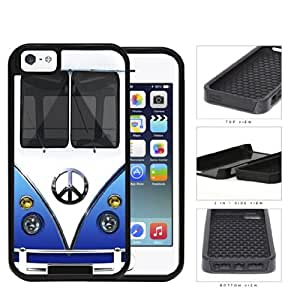 linJUN FENGHippy Mini Van Series V1 2-Piece High Impact Dual Layer Cell Phone Case Cover iPhone i5 5s (blue)