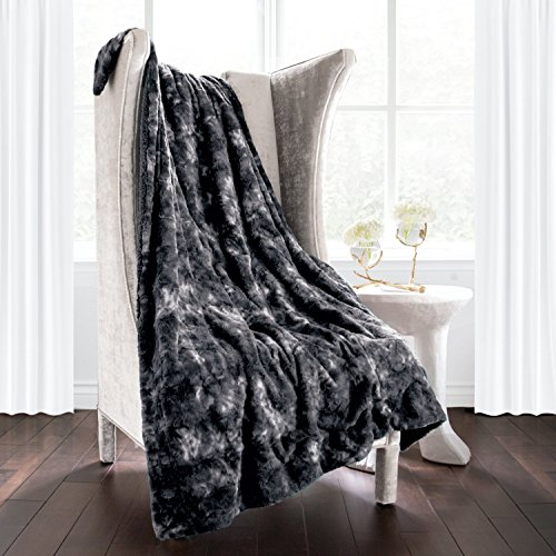 Italian Luxury Super Soft Faux Fur Throw Blanket - Elegant Cozy Hypoallergenic Ultra Plush Machine Washable Shaggy Fleece Blanket - 60 inches x 70 inches - Charcoal (Best Fur Coats In The World)