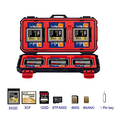 SD Card Holder - Tightly & Safely Holds 3XQD/ 3CF/ 12SD/ 6TF/ 6MIS/ 6NANO Memory Cards for Added Protection (Sd Slip)