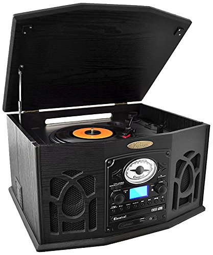Pyle PTCDS7UBTB Bluetooth Turntable, Retro Vintage Classic Style Vinyl Record Player with Vinyl-to-MP3 Recording, CD Player, AM/FM Radio USB MP3 Player (Black) by Pyle