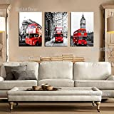 Big Ben Car London Double Decker Red Bus/With Black and white Background Ready to hang 3 piece Wall Art print mounted on Fiberboard Waterproof Canvas /better thanstretched canvas