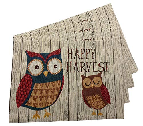 Windham Owls Happy Harvest Tapestry Fall Placemats (Set of 4) - Owl Placemats