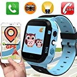 Kids Smart Watch GPS Tracker Phone Watch for Boys Girls with SIM Slot Game Camera Flashlight SOS Anti-lost Alarm Sport Watch Summer Holiday Run Camp Outdoor Monitor for APP iOS Android