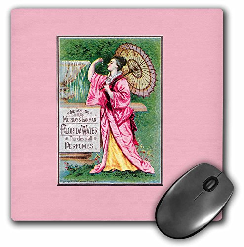 3dRose 8 x 8 x 0.25 Inches Mouse Pad, The Genuine Murray and Lanman Florida Water Perfumes Asian Woman with Parasol (mp_153657_1)