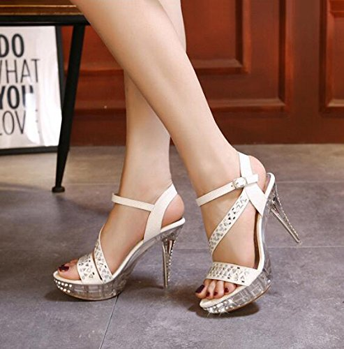 Ankle Toe Gladiator Womens Rhinestone Heel Strap High Stiletto CHFSO Platform Buckle Sandals Fashion Open White wSaCTXXZqn