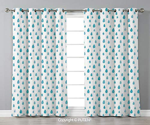 (Grommet Blackout Window Curtains Drapes [ Farmhouse Decor,Watercolor Drip Drops Pattern in Various Sizes Terrain Humidity Zone Sign,Blue White ] for Living Room Bedroom Dorm Room Classroom Kitchen Caf)