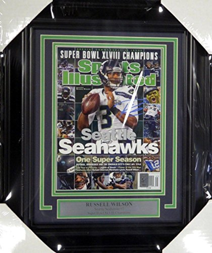 Russell Wilson Autographed Signed Seahawks Framed Sports Illustrated Rw Holo - Autographed NFL Magazines