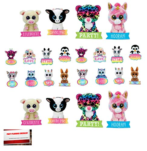 BEANIE BOOS Cake Cupcake Toppers (24 Pack)(Plus Party Planning Checklist by Mikes Super Store) ()