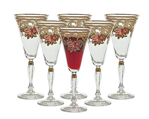 "- Glazze Crystal ALY-080-GL Set of 6 Luxurious Crystal Glasses – 24K Gold Detailing – for White, Red, Sparkling Wine – Pedestal Stem – 100% Lead-Free – 9""H 12oz, 12 oz, Floral"