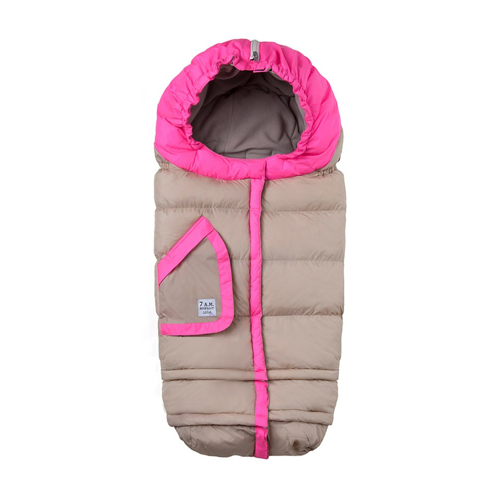 7AM Enfant Blanket 212 Two-Tone, Wind and Water-Resistant, Universal and Versatile Stroller and Car Seat Footmuff, Best for Freezing Winter Conditions (Beige/Neon Pink, One Size 0-4T)
