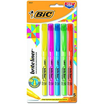 BIC BLP51WASST Brite Liner Highlighter, Chisel Tip, Assorted Colors (Set of 5)