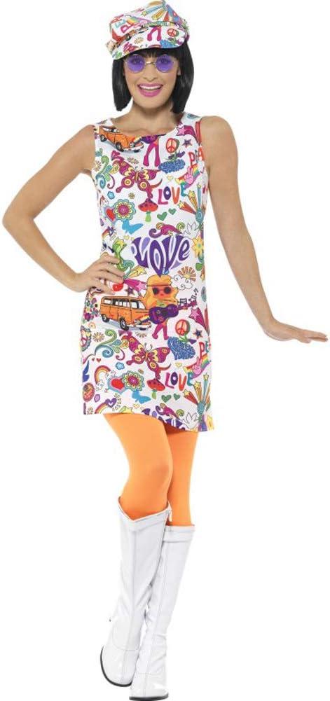 Smiffys-44911M Disfraz Buena Onda años 60 para Chica, con Vestido ...