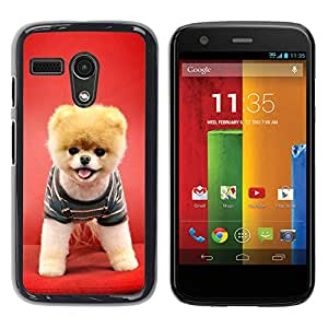 Design for Girls Plastic Cover Case FOR Motorola Moto G 1 1ST Gen Red Puppy Dog Funny Pet Cute Canine OBBA