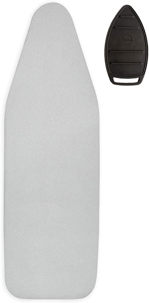 Encasa XO Metallic Silver Ironing Board Cover - Jetstream - Wide 18 x 49 inch, Extra Thick 2mm Foam + 4mm Felt Padding, Elastic Cord + Lock, 3 Fasteners, Silicone Iron Rest, Heat Reflective