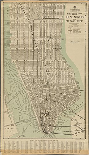Historic 1919 Map | Hagstrom's Map of lower New York City, House Number and Subway Guide. | Maps of New York City and State | - New York Manhattan Subway Map