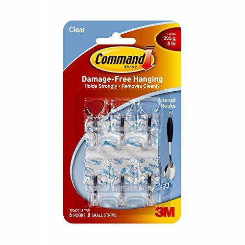 3M Command Utensil Hooks, Clear, 0.5 lb Capacity, Pack of 6