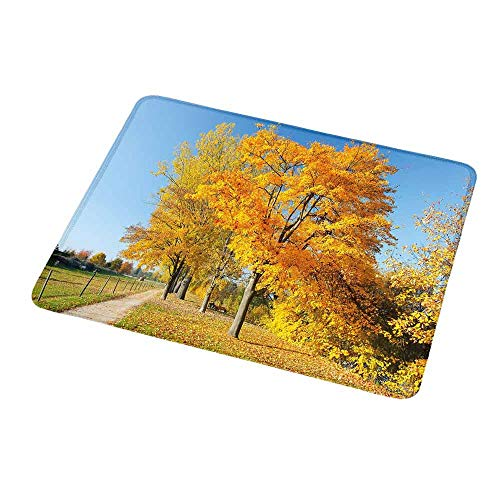 Desk Country Maple (Gaming Mouse Pad Fall,Maple Trees in The Rural Countryside Natural Landscape Tranquil View,Pale Blue Yellow Green,Gaming Non-Slip Rubber Large Mousepad 9.8