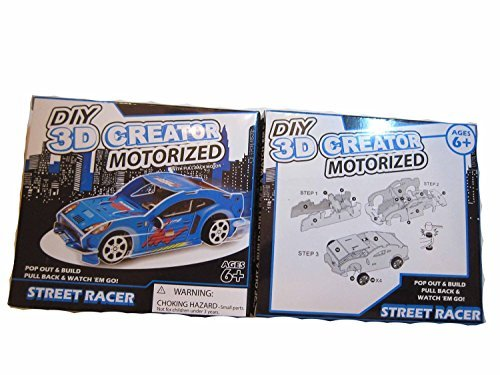 [DIY 3D Creator Motorized Street Racer - Race Car Kit 3 colors Yellow, Red and Blue Bundle Set] (Grinch Costume Diy)