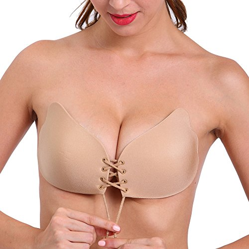 Aedo Backless Self Adhesive Bra Reusable Strapless Padded Invisible Push Up Bra