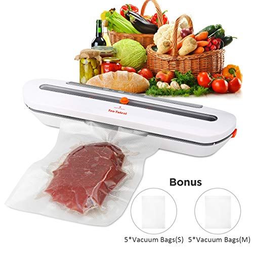 Vacuum Sealer Machine Automatic Air Sealing System for Food Storage with 10 Heat Seal Bags Sous Vide Cooking Commercial Grade Dry Modes White