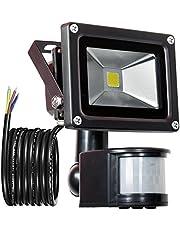 GLW 10W Faretto con Sensore di Movimento,LED Proiettore,IP65 Riflettore impermeabile di sicurezza,pari alle alogene da 80W,240V,800LM, bianco freddo 6000K, 3.38ft/1M di filo,Senza Spina