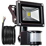GLW 900lm 10W PIR Motion Sensor LED Flood Light,Outdoor IP65 Waterproof Motion Sensor Spotlight,240V,6000k Daylight White Landscape Wall Light,3.38ft/1m wire,No pl