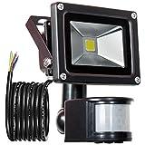 GLW 900lm 10W PIR Motion Sensor LED Flood Light,Outdoor IP65 Waterproof Motion Sensor Spotlight,240V,6000k Daylight White Landscape Wall Light,3.38ft/1m wire,No plug
