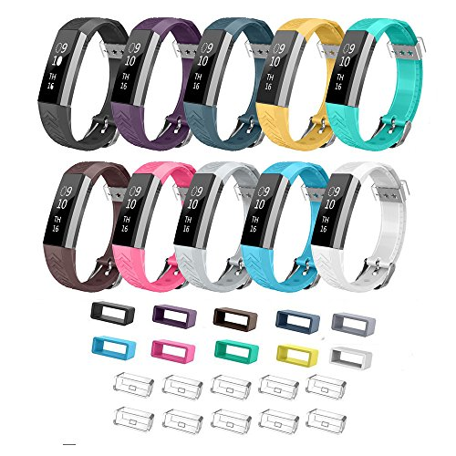 Pattern Tyre - for Fitbit Alta HR and Alta Bands with Buckle, Bon Tech 10 Pack Silicone Replacement Wristbands Fitbit Alta HR Accessories Straps (Tyre Pattern - Pack of 10)