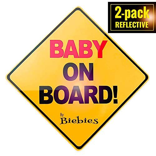 Biebie's Baby on Board Magnet Sticker Decal for Cars - Bold & Visible - Portable & Removable - Weather Resistant - Alert Other Drivers You Have a Baby in the Car - 1 Year Warranty